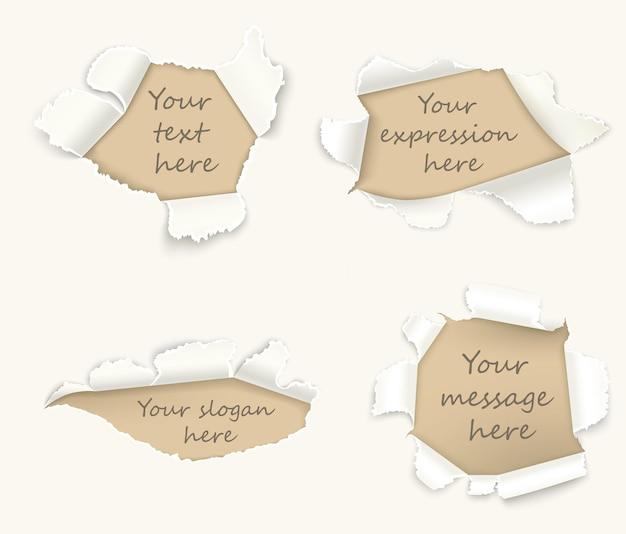 Conjunto de papel rasgado ou páginas danificadas