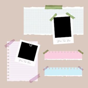 Conjunto de papel rasgado, rasgado de papel e foto com clip