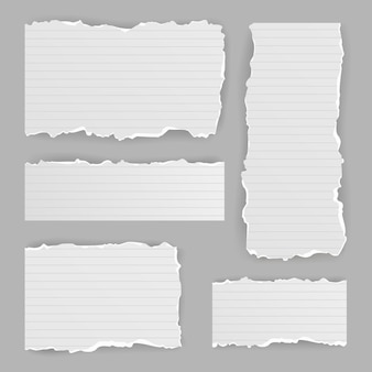 Conjunto de papel rasgado realista