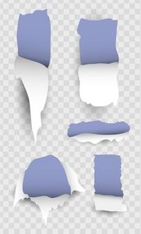 Conjunto de papel rasgado