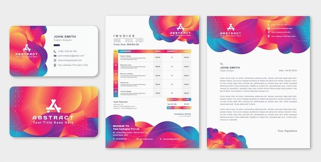 Conjunto de papel timbrado abstrato moderno com cartão de visita e modelo de design de fatura