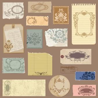 Conjunto de papel velho com molduras vintage e elementos de damasco