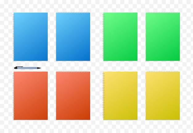Conjunto de papel vermelho, amarelo, verde e azul