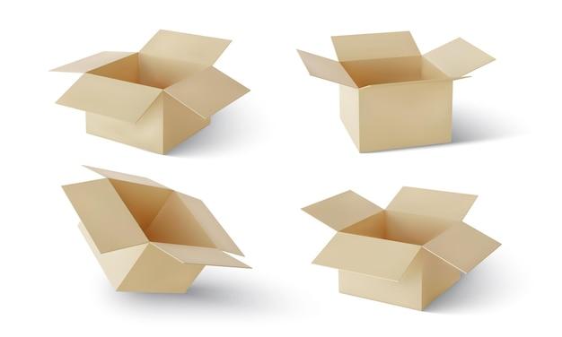 Conjunto de papelão realista isolado no branco