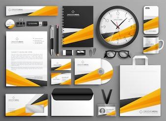 Conjunto de papelaria amarelo abstrato negócios
