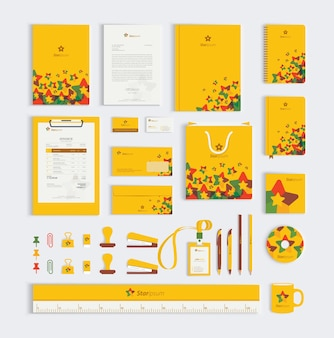 Conjunto de papelaria amarelo negócios corporativos