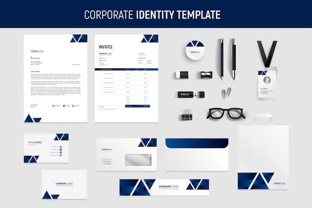 Conjunto de papelaria azul business