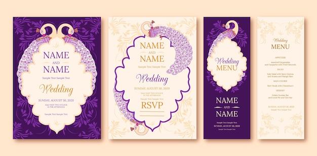 Conjunto de papelaria casamento indiano