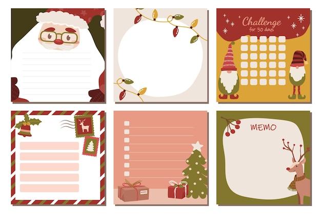 Conjunto de papelaria com renas e enfeites de natal do papai noel para anotações e listas de tarefas