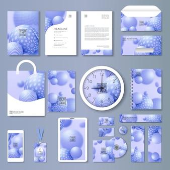 Conjunto de papelaria de negócios de empresa de azul abstrato vector