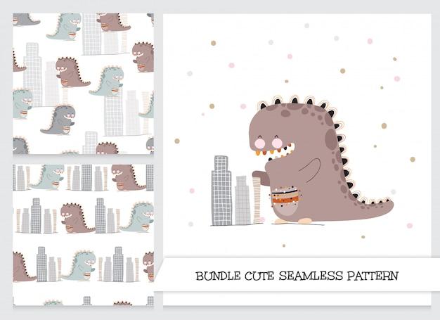 Conjunto de papelaria dinossauro fofo