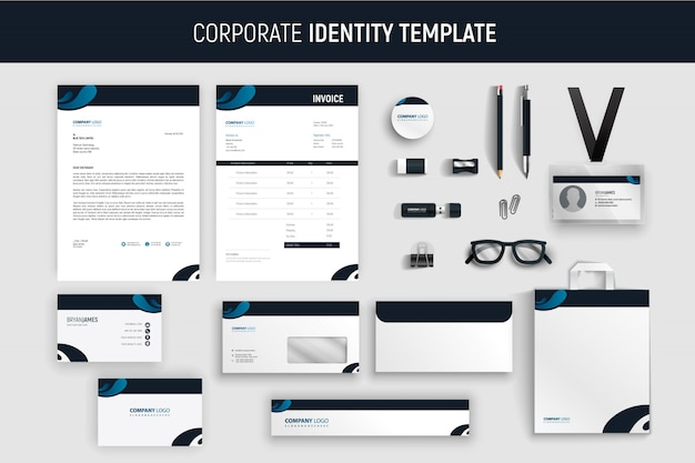 Conjunto de papelaria empresarial azul moderno