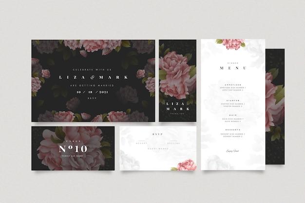 Conjunto de papelaria floral para casamento