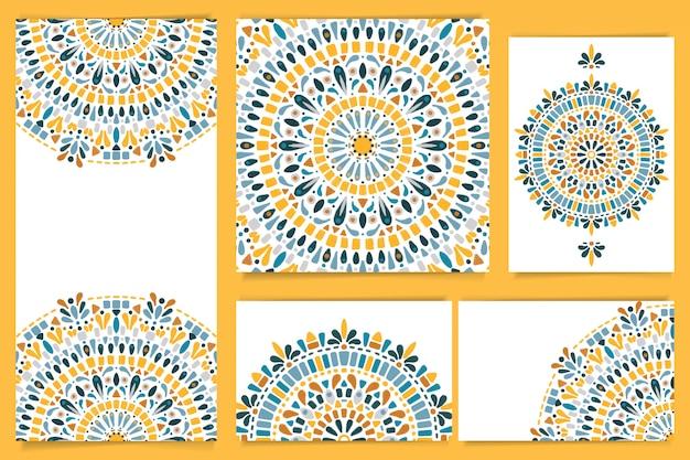 Conjunto de papelaria mandala aquarela azul e amarelo