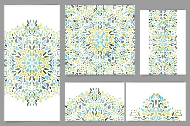 Conjunto de papelaria mandala aquarela azul e verde