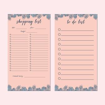 Conjunto de papelaria minimalista de planta rosa fofa, lista de compras, conjunto de modelos de lista de tarefas pendentes