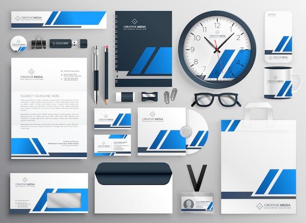 Conjunto de papelaria profissional azul business colateral
