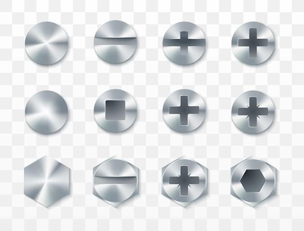 Conjunto de parafusos, rebites e parafusos. isolado em fundo transparente