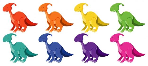Conjunto de parasaurolophus em cores diferentes