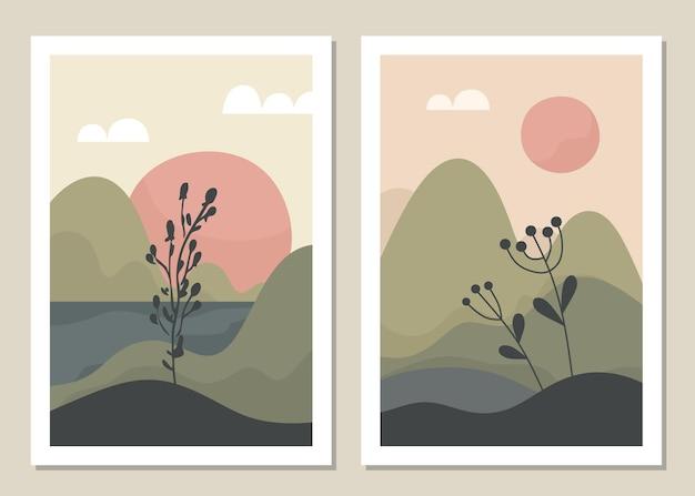 Conjunto de parede de paisagem de arte. botânico. paisagem abstrata