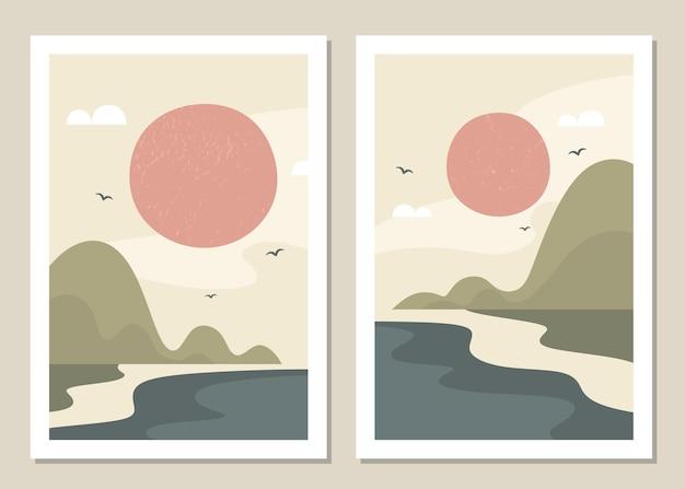 Conjunto de parede de paisagem de arte. paisagem abstrata