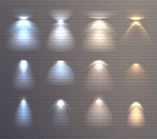 Conjunto de parede de tijolo de efeitos de luz