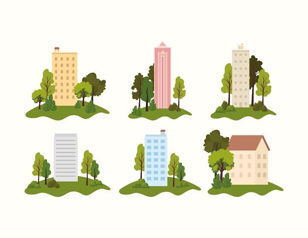 Conjunto de parques com edifícios no meio, ilustração