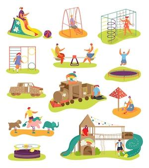 Conjunto de parques infantis com elementos infantis