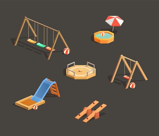 Conjunto de parques infantis isométricos