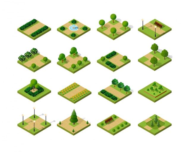 Conjunto de parques urbanos isométricos
