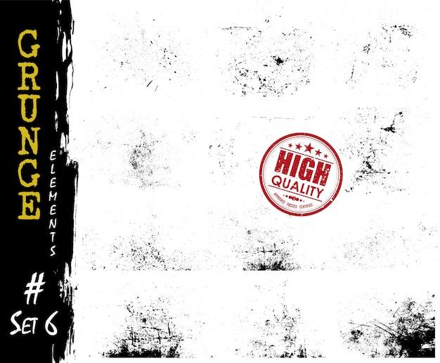 Conjunto de partícula de poeira de estilo grunge e elementos de risco