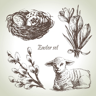 Conjunto de páscoa. ilustrações desenhadas à mão