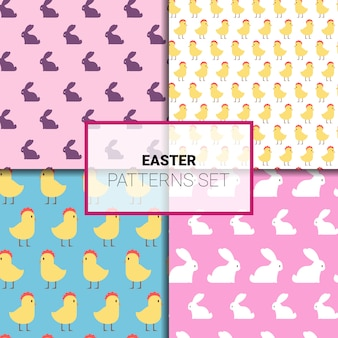 Conjunto de páscoa padrão sem emenda com coelhos bonitos ou enfeites de galinha