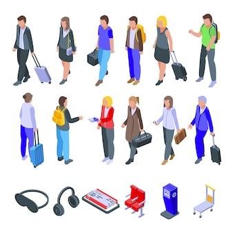 Conjunto de passageiros da linha aérea. conjunto isométrico de passageiros de companhias aéreas para web design isolado no fundo branco