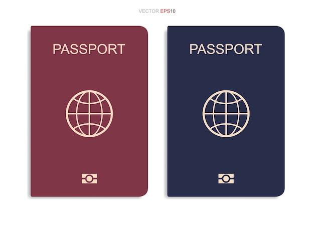 Conjunto de passaporte isolado em fundo branco