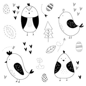 Conjunto de pássaro bonito desenhado de mão
