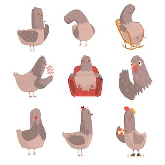 Conjunto de pássaro bonito dos desenhos animados, personagem de pássaro engraçado com diferentes ações e emoções ilustrações