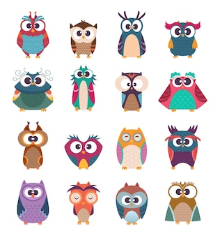 Conjunto de pássaros bebês fofos em várias poses