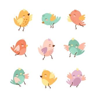 Conjunto de pássaros bonitos doodle