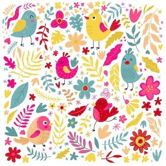 Conjunto de pássaros bonitos, flores e ervas, natureza e impressão da primavera