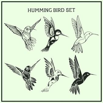 Conjunto de pássaros cantarolando