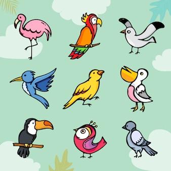 Conjunto de pássaros coloridos bonito dos desenhos animados