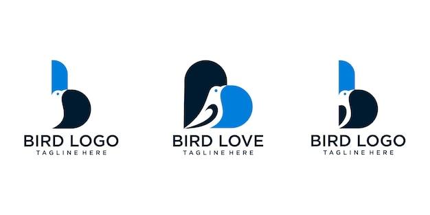 Conjunto de pássaros da letra b e pássaros do amor. modelo de logotipo premium vector Vetor Premium