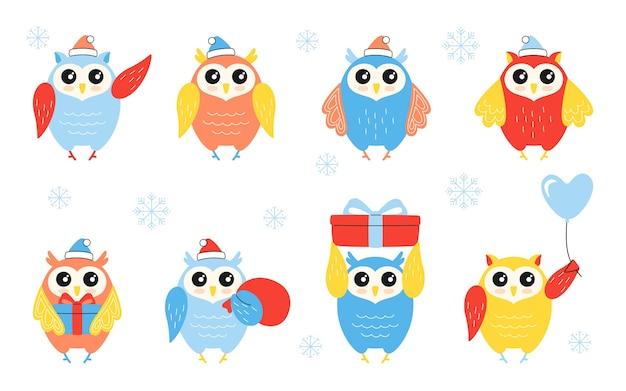 Conjunto de pássaros de caráter de coruja de natal.