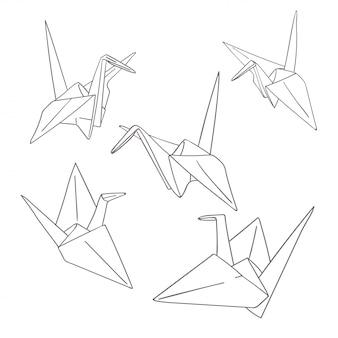 Conjunto de pássaros de origami de papel de contorno isolados no branco