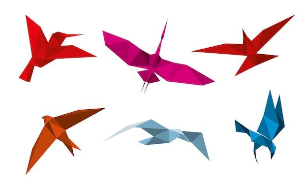 Conjunto de pássaros de origami