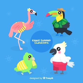 Conjunto de pássaros de verão kawaii