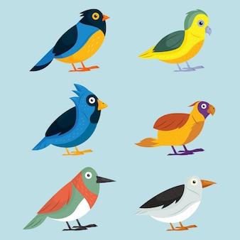 Conjunto de pássaros desenhados à mão