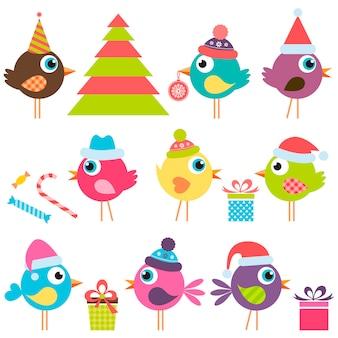 Conjunto de pássaros engraçados com chapéus de papai noel