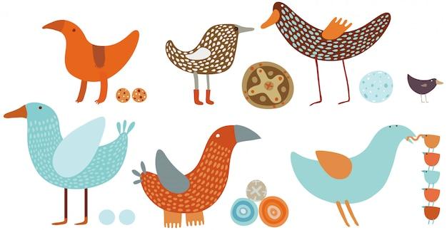 Conjunto de pássaros laranja e azul